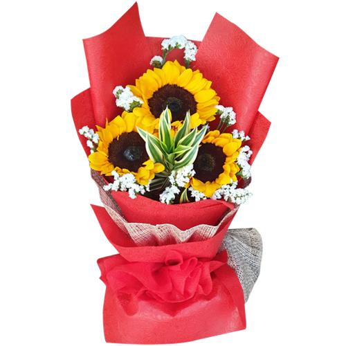 3 pcs Sunflower in Hand Bouquet