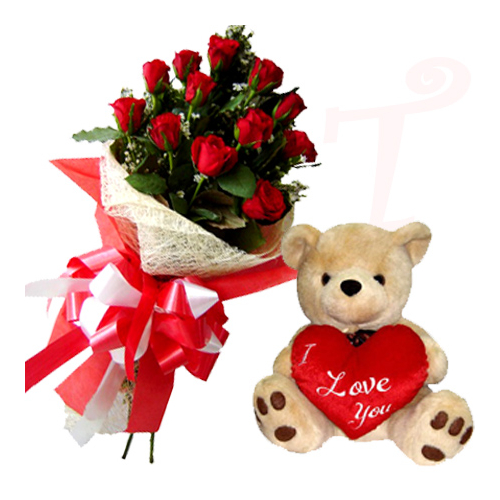 send roses with bear heart pillow to philippines