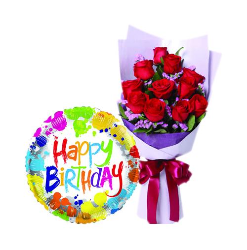 12 pcs Roses With Birthday Mylar Balloon
