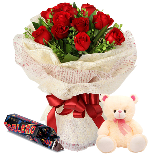 12 Red Roses With Toblerone Black Dark Chocolate & Small Bear