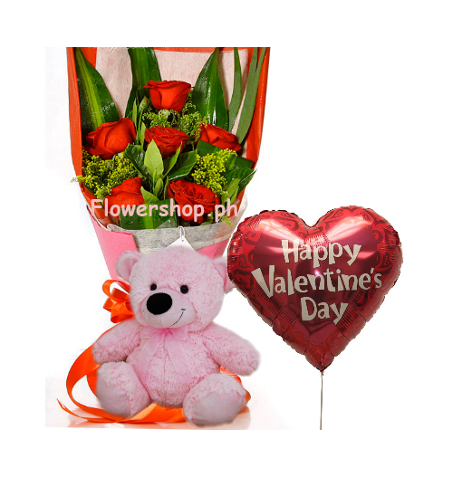 6 Red Roses,Pink Bear with Valentine Balloon Send to Philippines