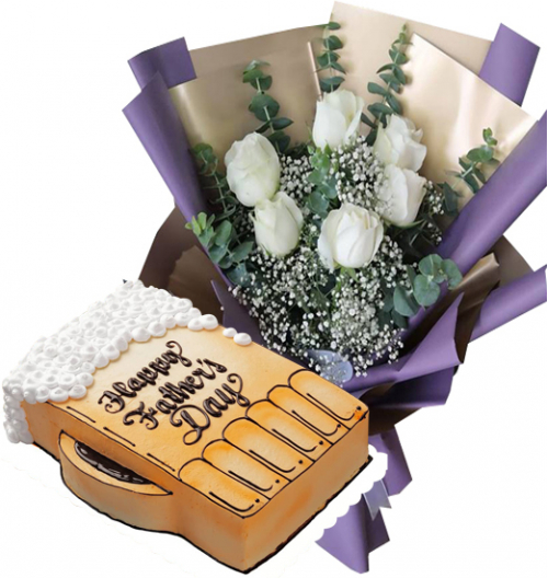6 Roses Bouquet with Father's Day Cake