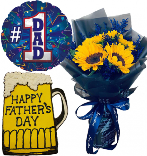 Father's Day 5 Pcs. Sunflowers with Cake and Balloon
