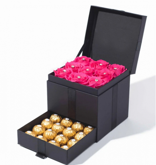 12 Pink Roses with 12 Ferrero Chocolates in a Box