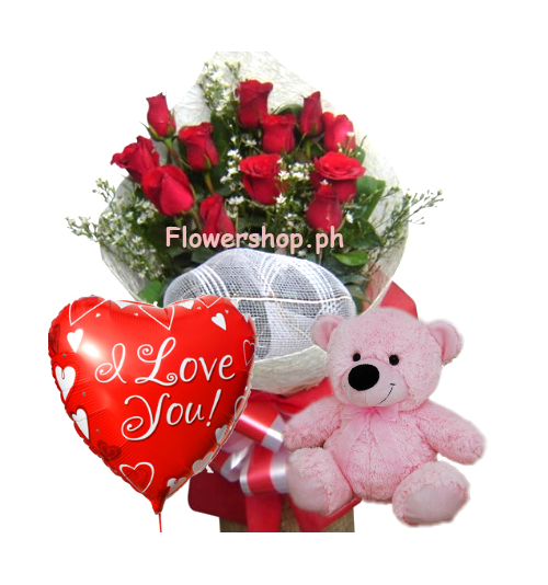 Red Rose bouquet,Pink Bear with Love You Balloon Send to Philippines