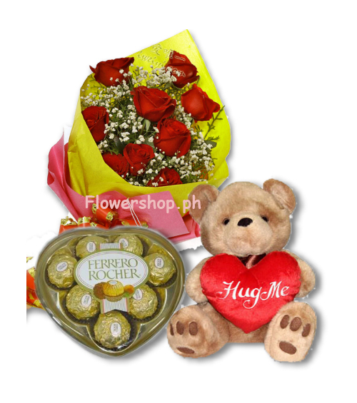 Red Rose bouquet,Ferrero Chocolate Box with Bear send to philippines