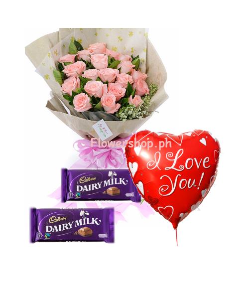 12 Pink Roses,Cadbury Chocolate with Love You Balloon Send to Philippines