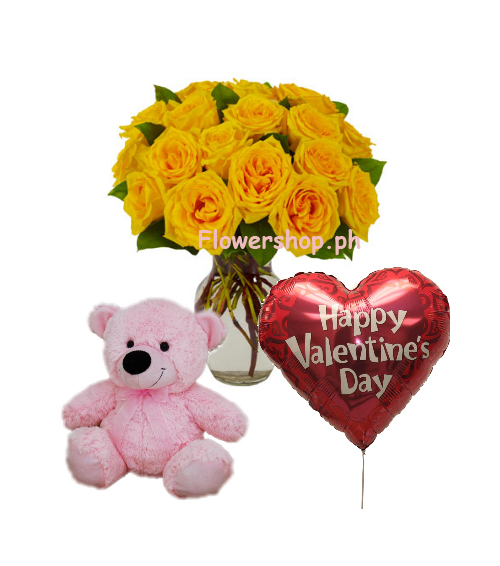 12 Yellow Rose vase,Pink Bear with Valentines Balloon Send to Philippines