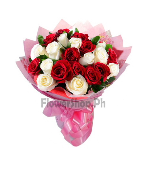 buy 24 red and white roses bouquet in philippines