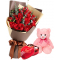 12 Red Roses With Lindt Chocolate And Small Bear