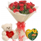 24 Red Roses With Vochelle Cranberries Chocolate & Cute Small Bear